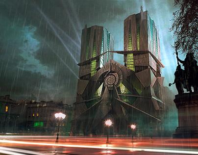 Notre Dame de Paris. Redesign in deconstruction style.