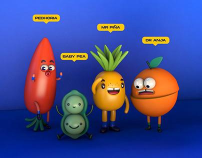 3D Veggies & Fruits Family