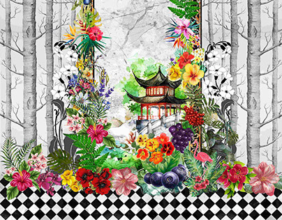 Tropical Flowers and Checkers
