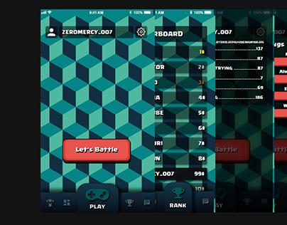 Mobile game menu mockup