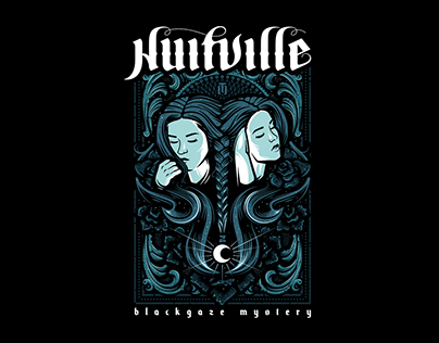 "Artwork for blackgaze/black metal band ""Nuitville"" UA"