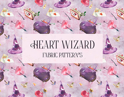 HEART WIZARD. Fabric collection. Seamless pattern