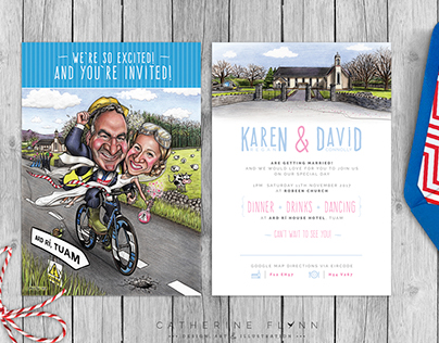 'Karen & Dave' - Caricature Wedding Invitation Suite