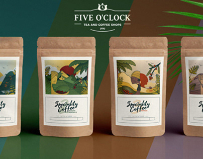 coffee packaging and labels illustrations