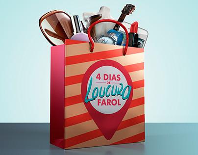 Ilustrações 3D campanha mídia impressa Farol Shopping.