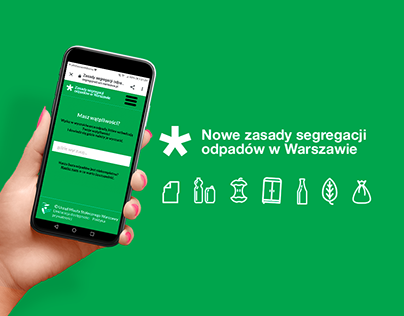 A web page explaining how to separate waste in Warsaw
