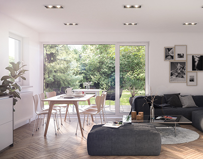 3D renders of Living and Dining room