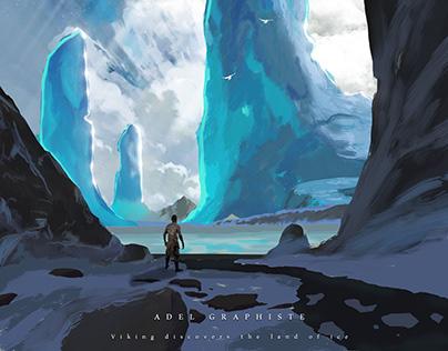 Viking discovers the land of ice Illustration Photoshop