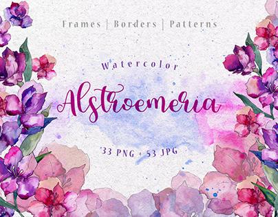 Purple Alstroemeria PNG watercolor set