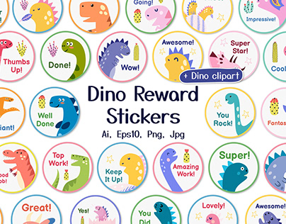 Dino Reward Stickers Set