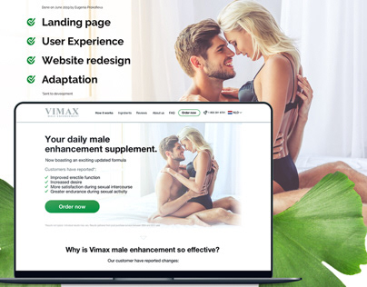 Landing page redesign for Vimax