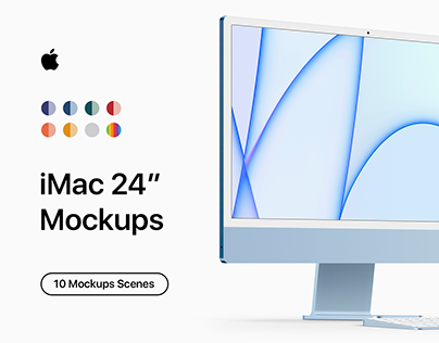 "iMac 24"" - 10 Original & Clay Mockups - PSD"