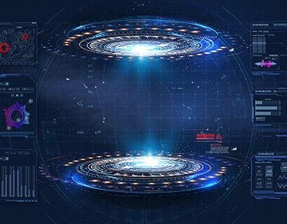 Futuristic platform. Hologram podium and data graphs