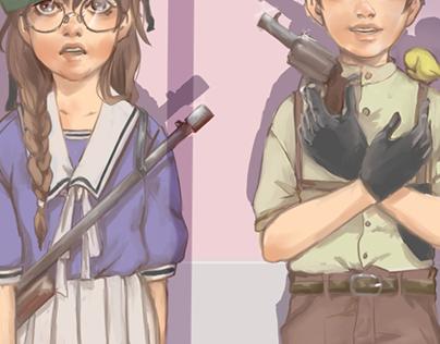 """Child's War"" Vieja ilustración."