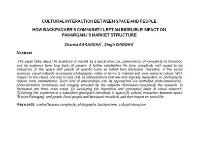 Cultural Interaction between Space & People