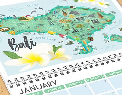 Bali map calendar
