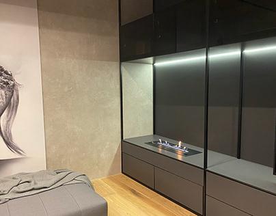 Planika Primefire в мебельной стенке