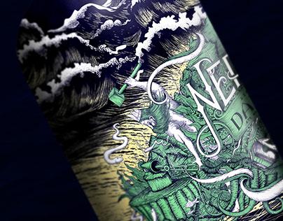 Neptune's Dark Rum Bottle Label Hand Draw Design