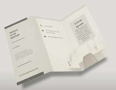 Free Tri-fold DL Flyer Mockup (PSD)