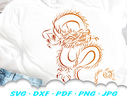 Chinese Dragon SVG Cut Files Tribal Design