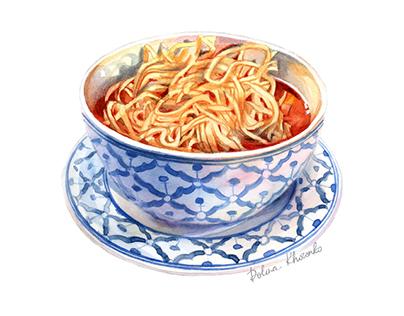 Asian King noodle soup/Food illustration