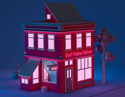 Neon Houses 3D