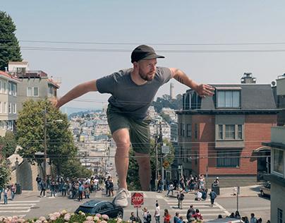 Giant Tourist in San Francisco