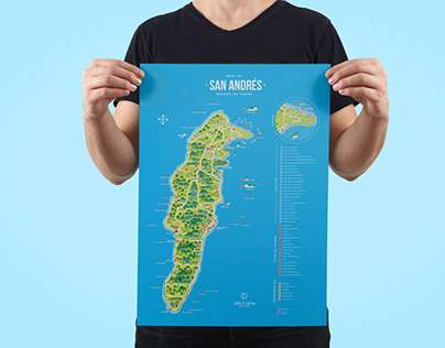 Map illustration - Colombia . San Andres