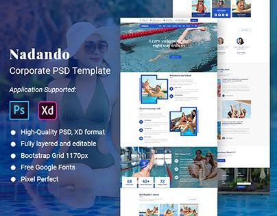 Nadando Website Adobe Xd, PSD Template