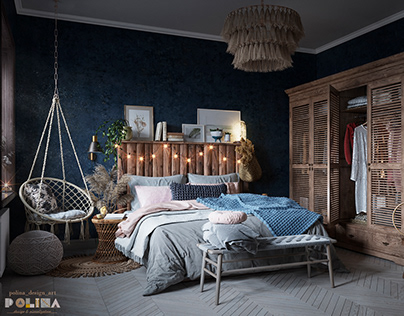 Design and visualization of Cozy blue bedroom