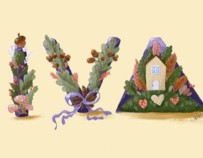 Botanical fonts_digital painting