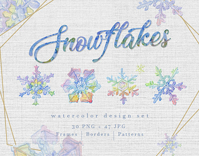 Watercolor colorful snowflakes PNG set