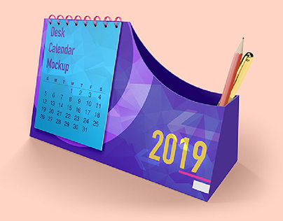 Custom Desk Calendar Mockups with Pen Box