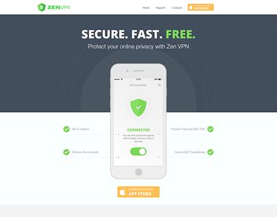 ZenVPN app landing page