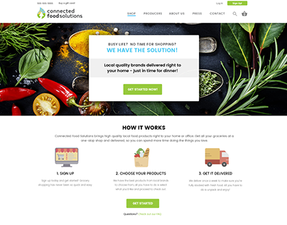 Food delivery website UI  mockup