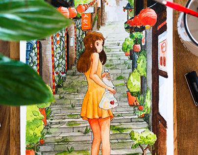 Watercolor illustration - Sekai