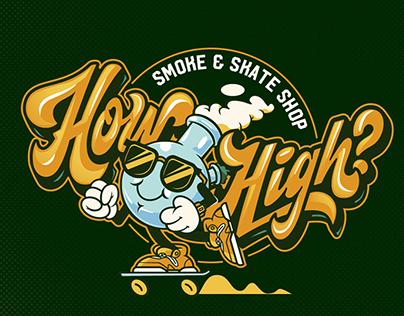 Brand identity How High? Smoke & Skate Shop