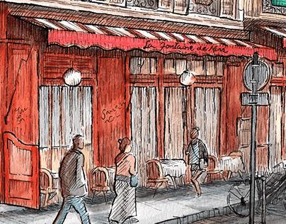 Paths in Paris #1 - watercolor artwork