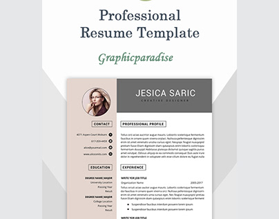 Professional resume template instant download, 3 page
