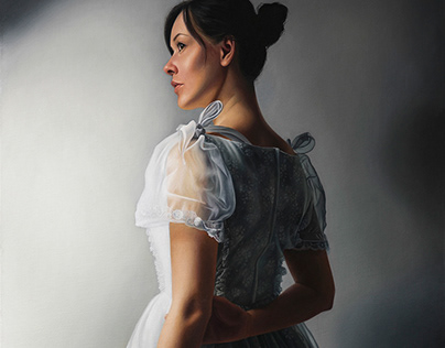 """Girl in White I"", oil on canvas"