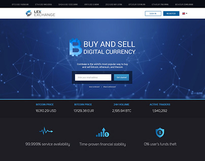 Crypto currency exchange Web Landing page