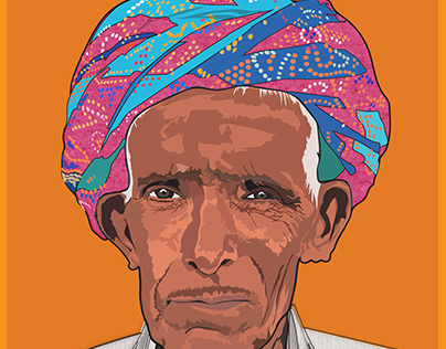 Vector Portrait illustration Of Old Man