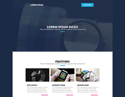 Download: 1 Page Landing Page PSD Smart Watch