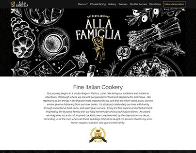 Alla Famiglia Website Homepage
