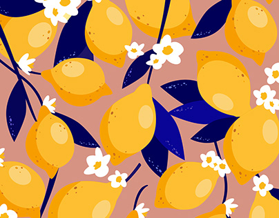 LEMONCELLO. Fruit vector pattern illustration