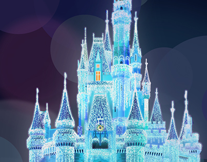 Disney Castle at Christmas (Digital Painting)