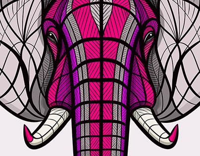 African Elephant Neon