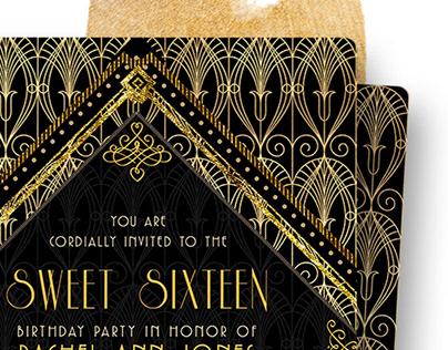 Black Gold Art Deco Style Invite Set