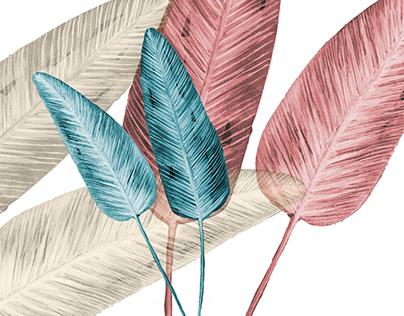 Surface Design - Banana palm watercolor leaves