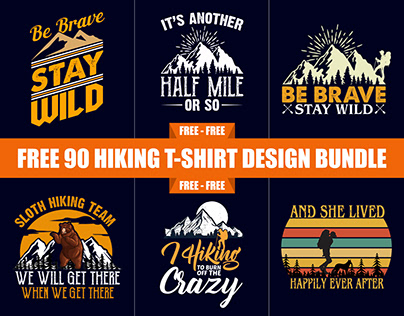 90 Mountain Hiking T-Shirt Design Free Download​​​
